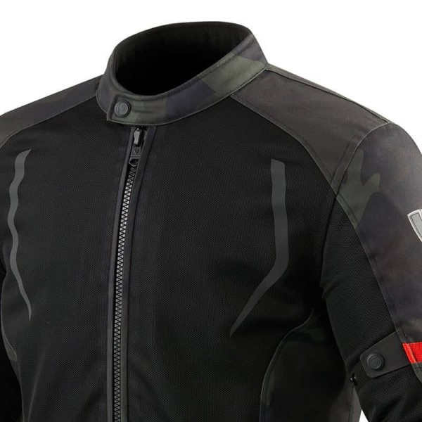 Motorcycle Fabric Jacket REVIT Torque Black Army Green