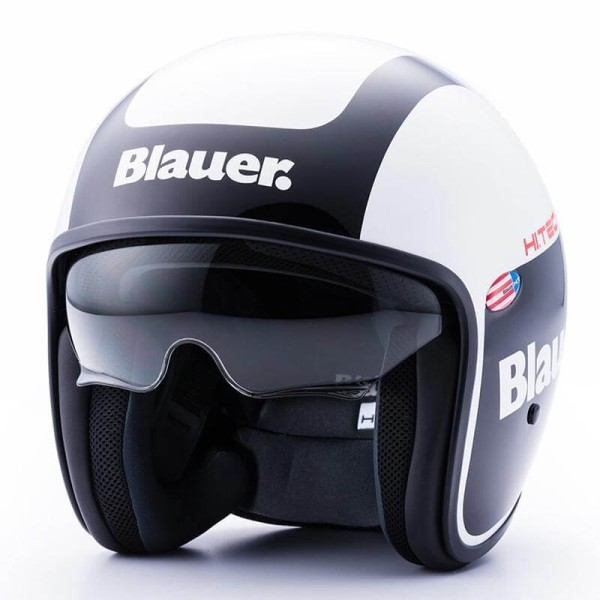 Motorcycle Jet Helmet BLAUER HT Pilot 1.1 Graphics G Black White