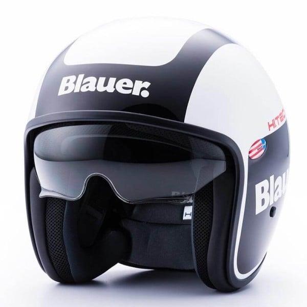 Motorrad Jet Helm BLAUER HT Pilot 1.1 Graphics G Schwarz Weiß
