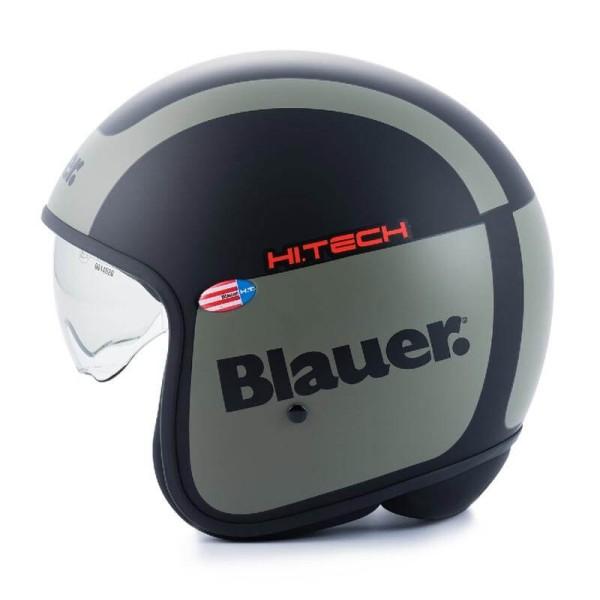 Motorrad Jet Helm BLAUER HT Pilot 1.1 G Matt Schwarz Grün