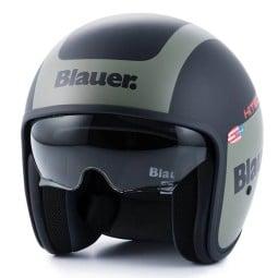 Motorcycle Jet Helmet BLAUER HT Pilot 1.1 G Black Matt Green ,Jet Helmets