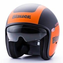 Motorrad Jet Helm BLAUER HT Pilot 1.1 Matt Schwarz Orange