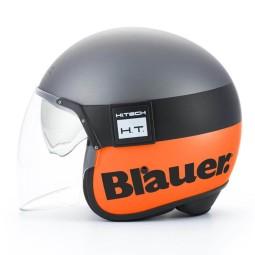 Casco Moto Jet BLAUER HT POD Titanio Naranja