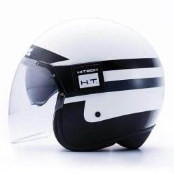 Motorrad Jet Helm BLAUER HT POD Stripes Weiß Schwarz , Jethelme