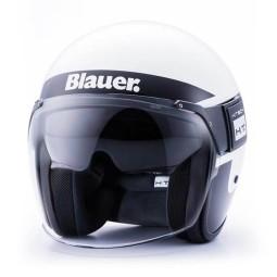 Motorrad Jet Helm BLAUER HT POD Stripes Weiß Schwarz