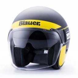 Casco Moto Jet BLAUER HT POD Stripes Nero Giallo