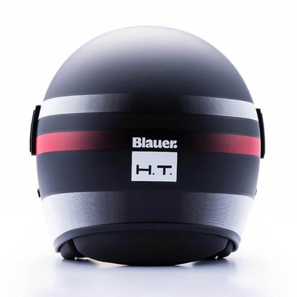 Casco Moto Jet BLAUER HT POD Stripes Negro Blanco Rojo