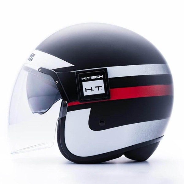 Motorcycle Jet Helmet BLAUER HT POD Stripes Black White Red