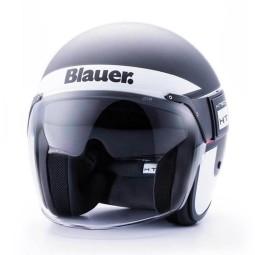Motorrad Jet Helm BLAUER HT POD Stripes Schwarz Weiß Rot