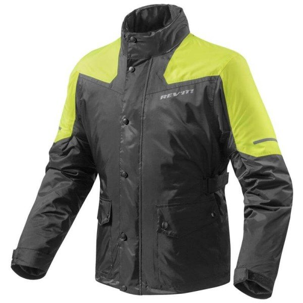 Motorcycle Rain Jacket REVIT Nitric 2 H2O Black-Neon Yellow ,Functional Motorcycle Gear