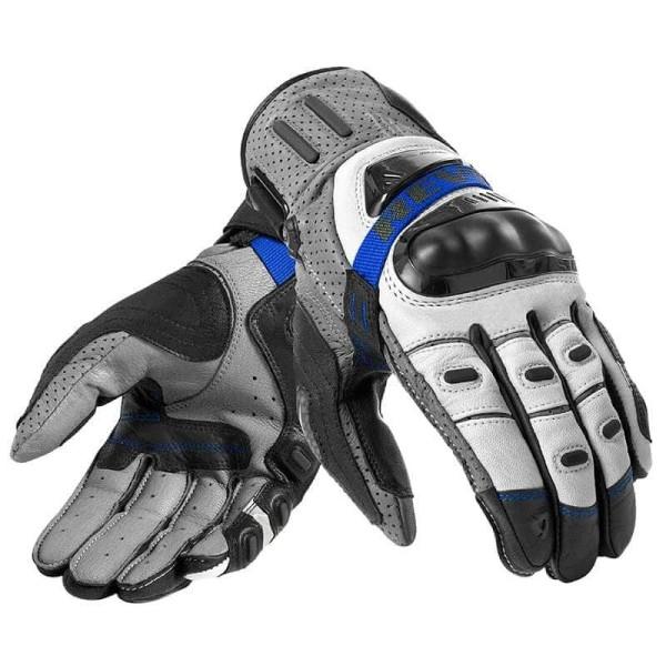 Motorcycle Gloves Leather REVIT Cayenne Pro Grey Blue