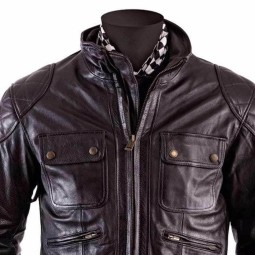 Leather motorcycle jacket Helstons Hunt Brown