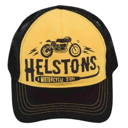 Cappellino Moto HELSTONS Café Racer Giallo, Cuffie / Cappelli
