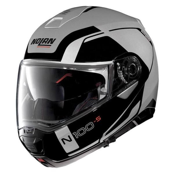 Casque Moto Modulable Nolan N100 5 Consistency N Com Flat Silver