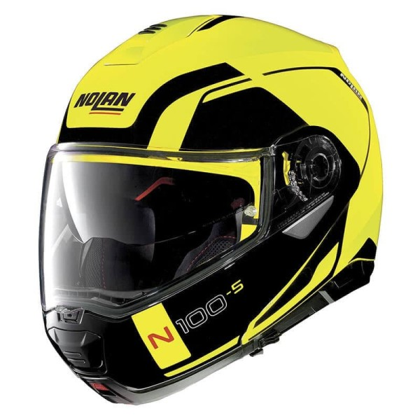 casque moto modulable nolan n100 5 consistency n com led yellow. Black Bedroom Furniture Sets. Home Design Ideas
