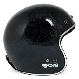Motorcycle Helmet Vintage ROEG Moto Co JETT Black Megaflake ,Jet Helmets