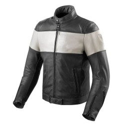 Motorrad-Lederjacke REVIT Nova Vintage Schwarz Weiss
