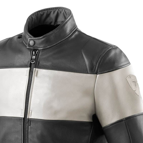 Motorcycle Leather Jacket REVIT Nova Vintage Black White