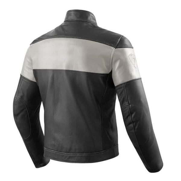 Chaqueta Cuero Moto REVIT Nova Vintage Negro Blanco