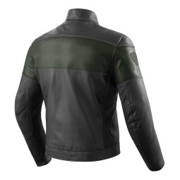 Motorcycle Leather Jacket REVIT Nova Vintage Black Green ,Leather Motorcycle Jackets