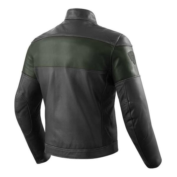 Chaqueta Cuero Moto REVIT Nova Vintage Negro Verde