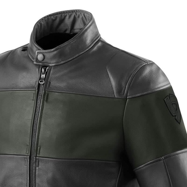 Motorcycle Leather Jacket REVIT Nova Vintage Black Green