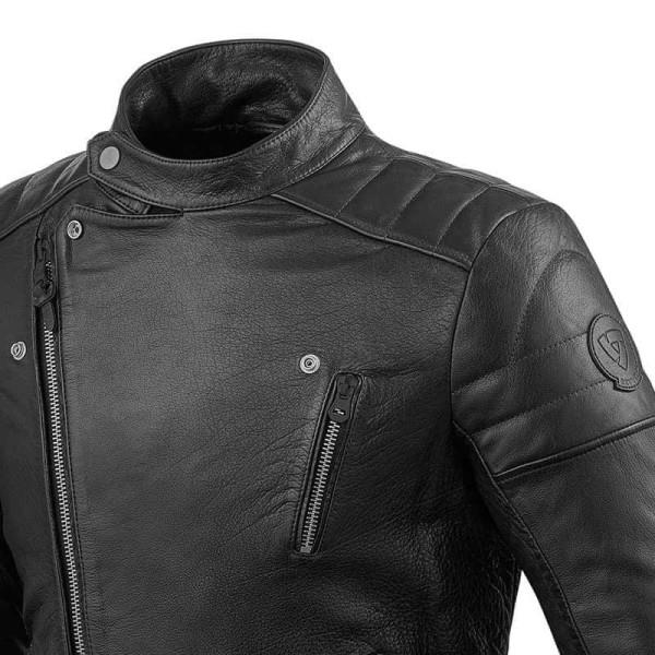 Motorcycle Leather Jacket REVIT Vaughn Black