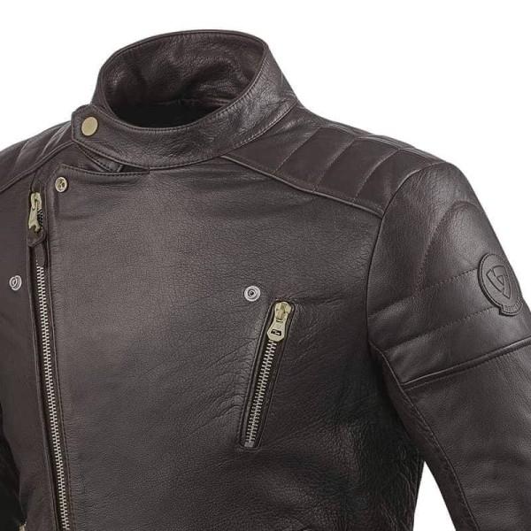 Chaqueta Cuero Moto REVIT Vaughn Marrón Oscuro