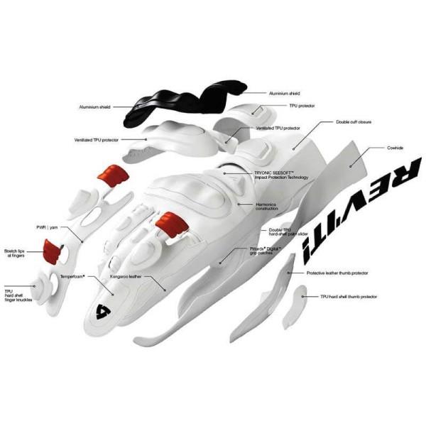 Gants Moto Cuir REVIT Jerez 3 Noir Jaune Neon