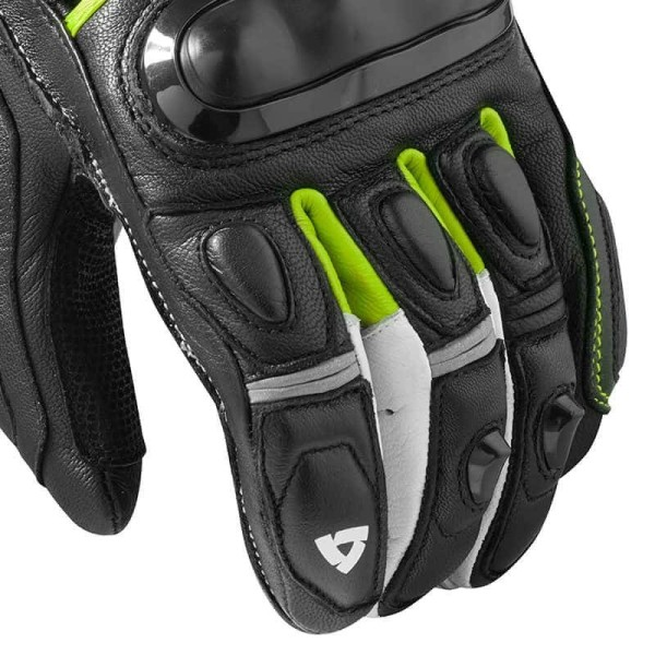 Motorcycle Leather Gloves REVIT Chicane Black Neon Yellow