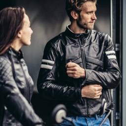 Motorcycle Leather Jacket REVIT Prometheus Black White