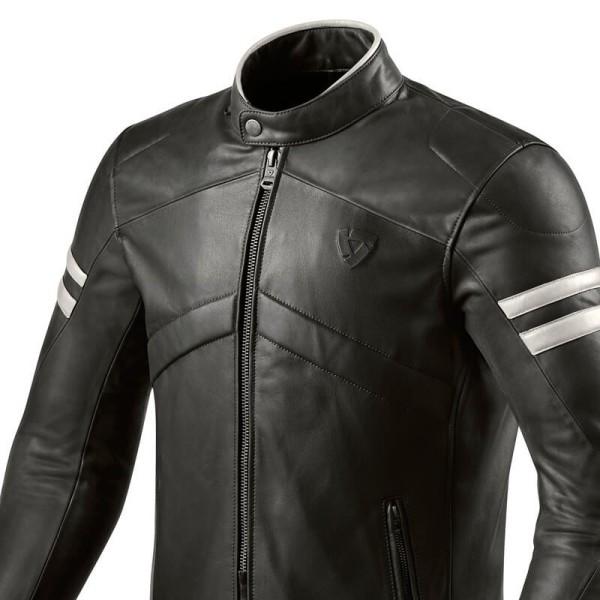 Motorrad-Lederjacke REVIT Prometheus Schwarz Weiss