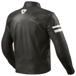 Chaqueta Cuero Moto REVIT Prometheus Negro Blanco