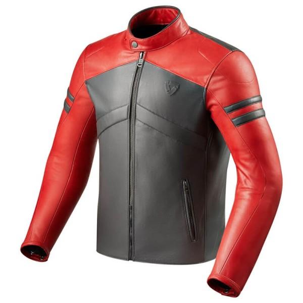Motorcycle Leather Jacket REVIT Prometheus Red Grey