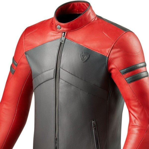 Motorrad-Lederjacke REVIT Prometheus Rot Grau