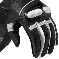Gants moto en cuir REVIT Hyperion Noir Blanc
