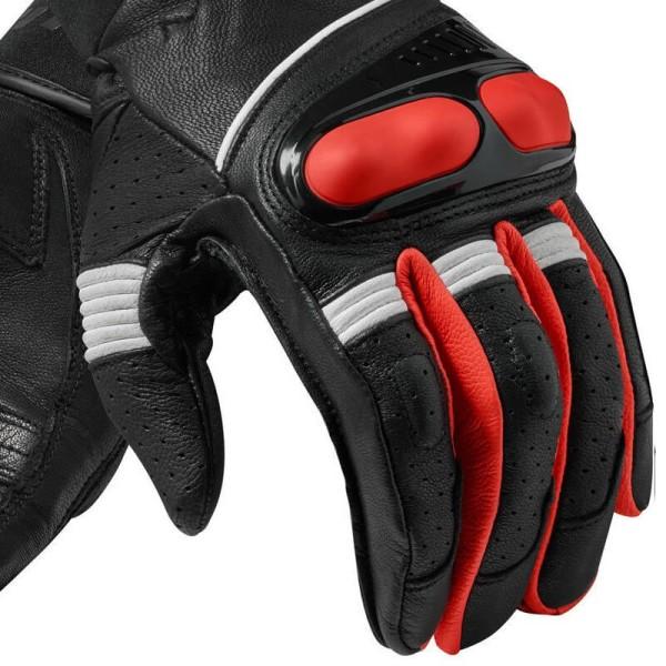Gants moto en cuir REVIT Hyperion Noir Rouge