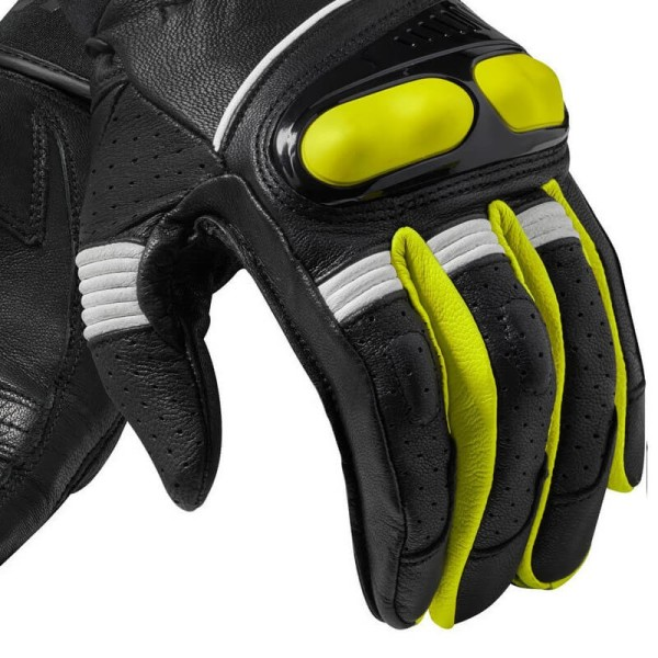 Motorcycle Gloves Leather REVIT Hyperion Black Yellow Fluo