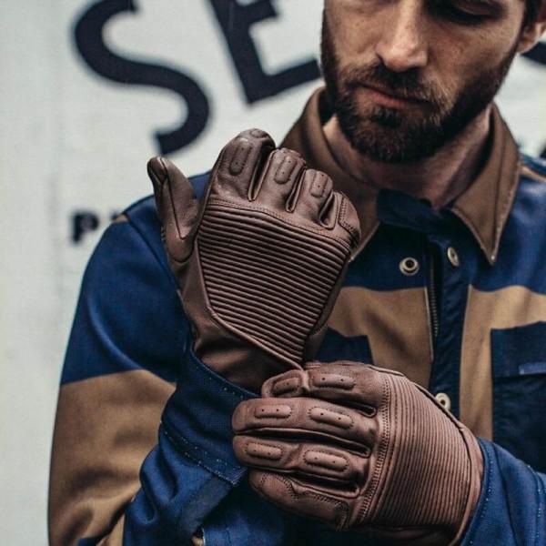 Guantes de cuero moto REVIT Bastille Marron