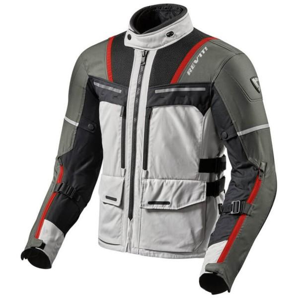 Motorrad Jacke REVIT Offtrack Silber Rot