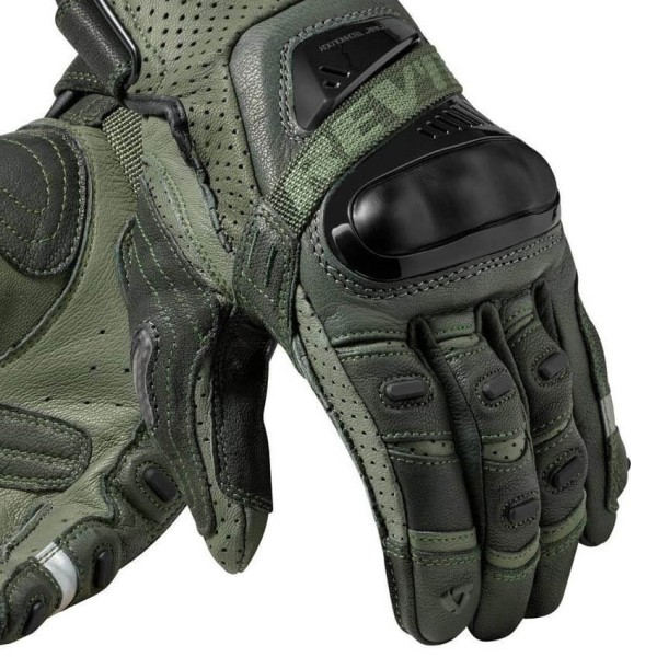 Motorcycle Gloves Leather REVIT Cayenne Pro Green Black