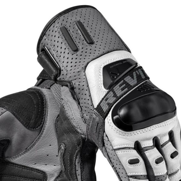 Motorcycle Gloves Leather REVIT Cayenne Pro Silver Black
