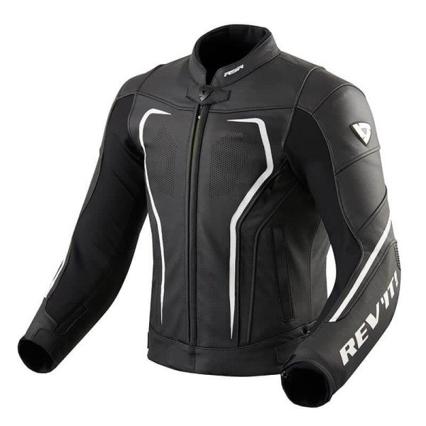 Motorcycle Leather Jacket REVIT Vertex GT Black White ,Leather Motorcycle Jackets
