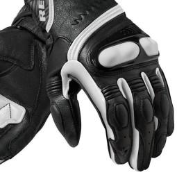 Motorcycle Leather Gloves REVIT Metis Black white, Racing gloves