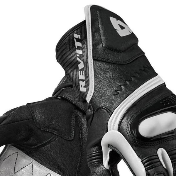 Motorcycle Leather Gloves REVIT Metis Black white