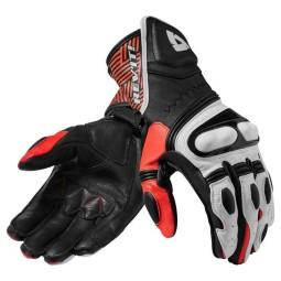 Motorcycle Leather Gloves REVIT Metis Black red, Racing gloves