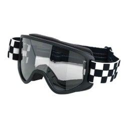 Motorradbrille BILTWELL Inc Moto 2.0 Checkers Black OTG ,Motorradbrillen