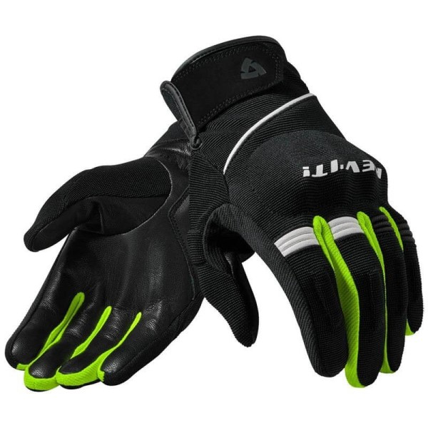 Motorcycle Gloves Leather REVIT Mosca Black Neon Yellow