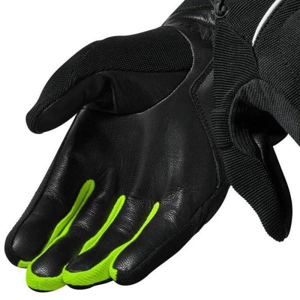 Guantes de cuero moto REVIT Mosca Negro Amarillo Fluor