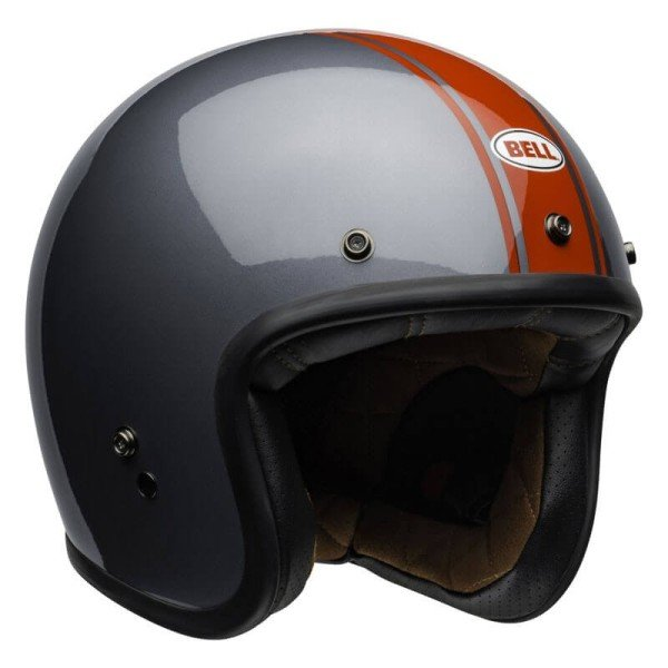 Casque Moto Jet Vintage Bell Helmets Custom 500 Rally Gray Red